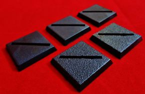 5x 25mm Games Workshop Square slotta diagonal slotted plastic black Warhammer Wargame Bases